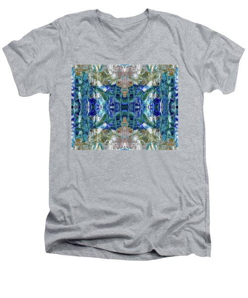Men's V-Neck T-Shirt featuring the digital art Liquid Abstract #0061_1 by Barbara Tristan
