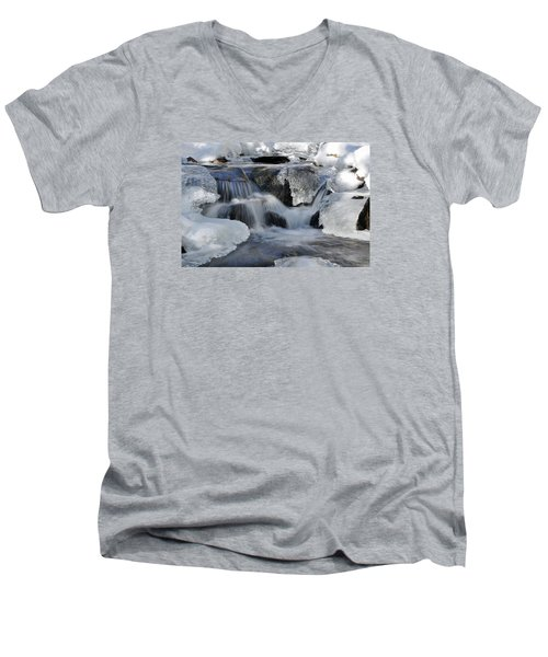 Men's V-Neck T-Shirt featuring the photograph Winter Waterfall In Maine by Glenn Gordon