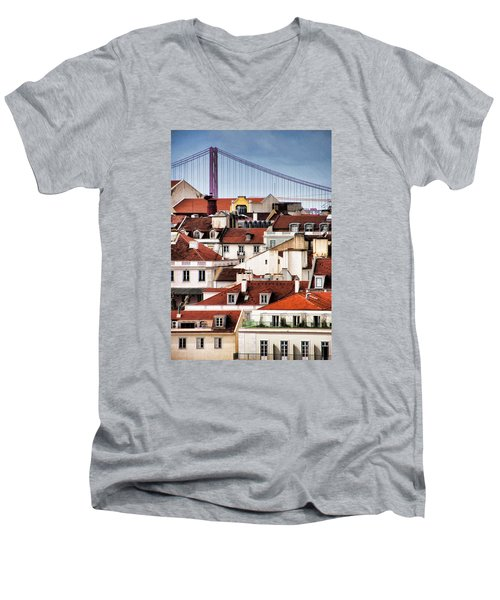 Lisbon Rooftops Men's V-Neck T-Shirt by Dennis Cox WorldViews