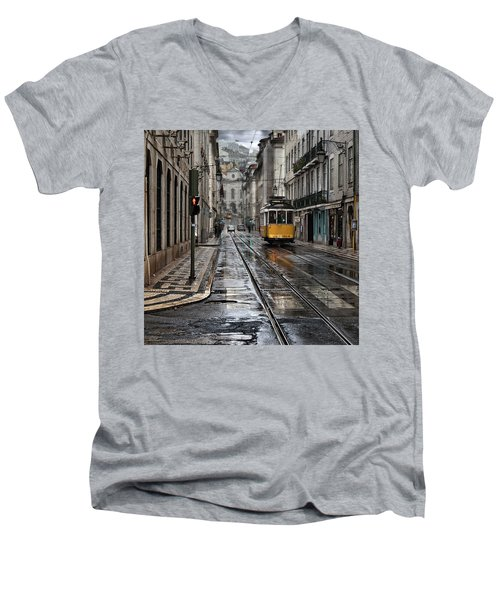 Men's V-Neck T-Shirt featuring the photograph Lisbon Streets by Jorge Maia