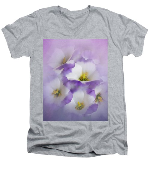 Men's V-Neck T-Shirt featuring the photograph Lisianthus Grouping by David and Carol Kelly