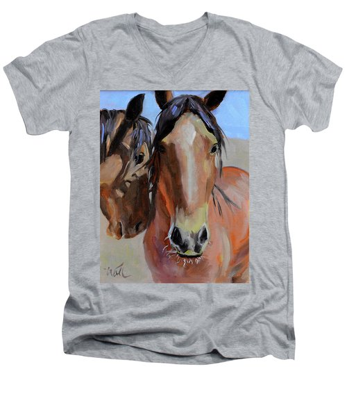 Men's V-Neck T-Shirt featuring the painting Litchfield Homies by Pattie Wall