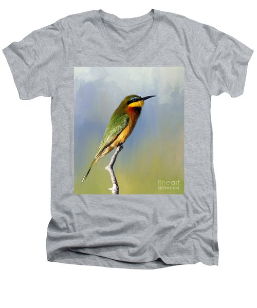 Men's V-Neck T-Shirt featuring the photograph Little Bee-eater by Myrna Bradshaw
