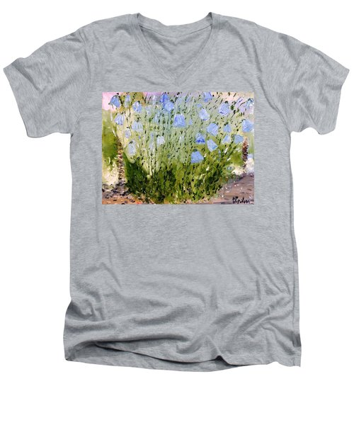 Men's V-Neck T-Shirt featuring the painting Little Bells by Evelina Popilian