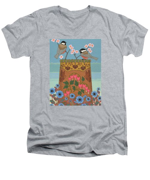 Men's V-Neck T-Shirt featuring the painting Little Bird by Chholing Taha