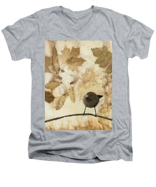 Little Bird On Silk With Leaves Men's V-Neck T-Shirt by Carolyn Doe