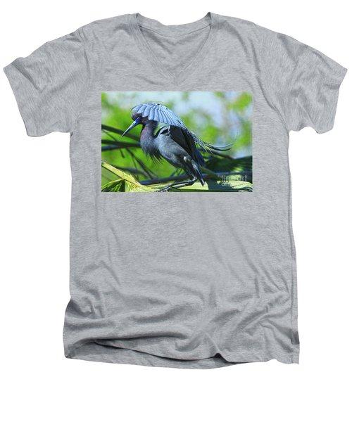 Men's V-Neck T-Shirt featuring the photograph Little Blue Heron Alligator Farm by Deborah Benoit