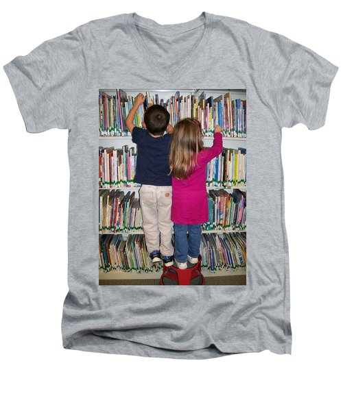 Men's V-Neck T-Shirt featuring the digital art Little Bookworms by Barbara S Nickerson