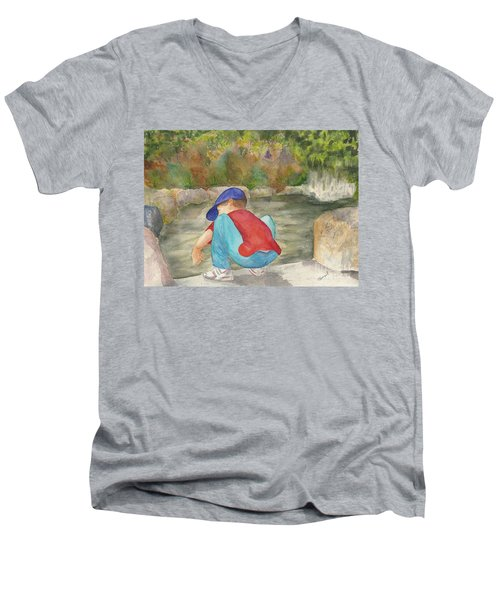 Little Boy At Japanese Garden Men's V-Neck T-Shirt