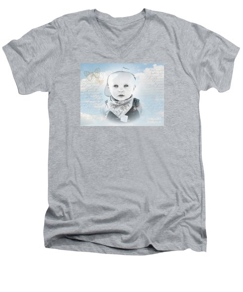 Little Boy Blue Men's V-Neck T-Shirt by Karen Lewis
