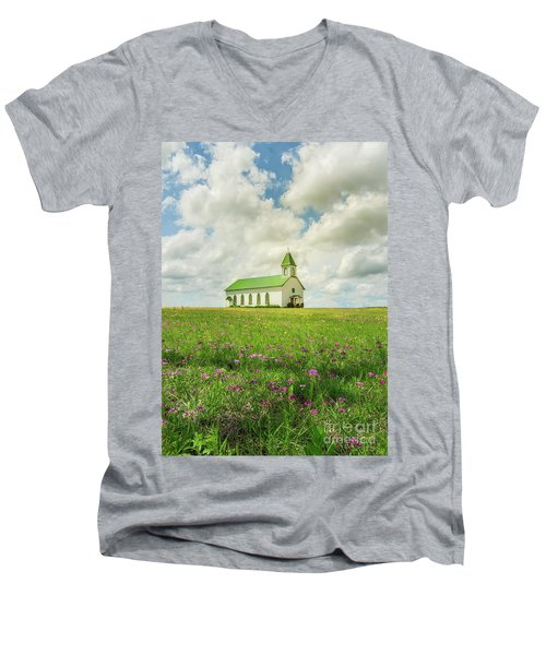 Men's V-Neck T-Shirt featuring the photograph Little Church On Hill Of Wildflowers by Robert Frederick