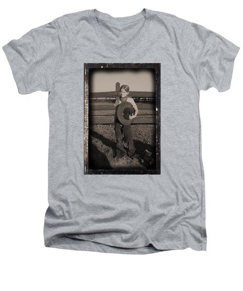 Little Cowgirl, Big Hat Men's V-Neck T-Shirt