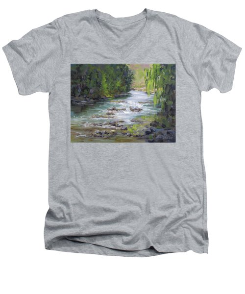 Men's V-Neck T-Shirt featuring the painting Little Creek by Karen Ilari