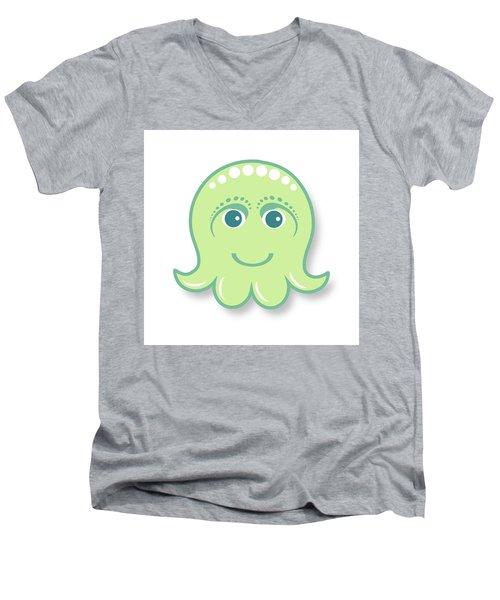 Little Cute Green Octopus Men's V-Neck T-Shirt