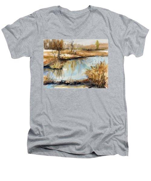 Little Dam Men's V-Neck T-Shirt by Judith Levins