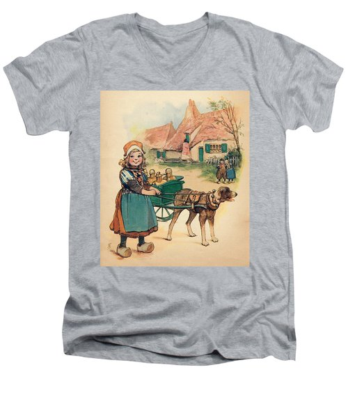 Little Dutch Girl With Milk Wagon Men's V-Neck T-Shirt by Reynold Jay