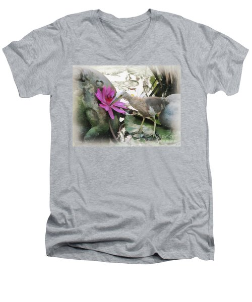 Men's V-Neck T-Shirt featuring the painting Little Egret by Sergey Lukashin