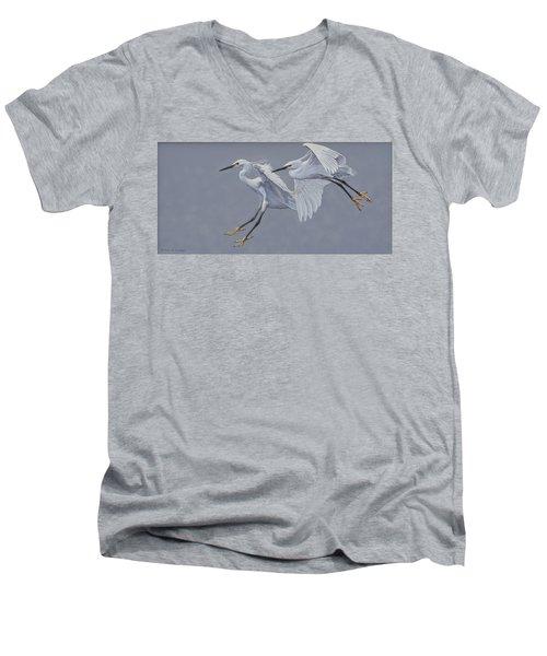 Little Egrets In Flight Men's V-Neck T-Shirt