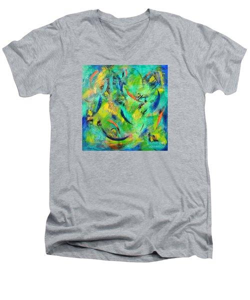 Little Fishes Men's V-Neck T-Shirt by Lyn Olsen
