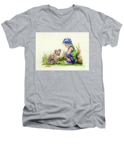 Little Friends Watercolor Men's V-Neck T-Shirt by Margaret Stockdale