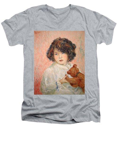 Little Girl With Bear Men's V-Neck T-Shirt