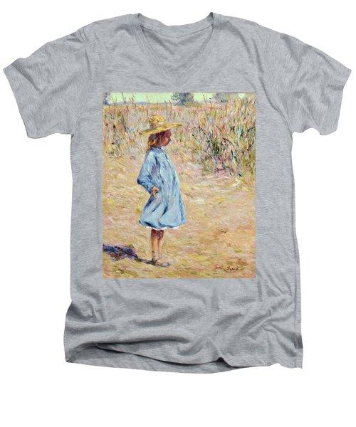 Little Girl With Blue Dress Men's V-Neck T-Shirt