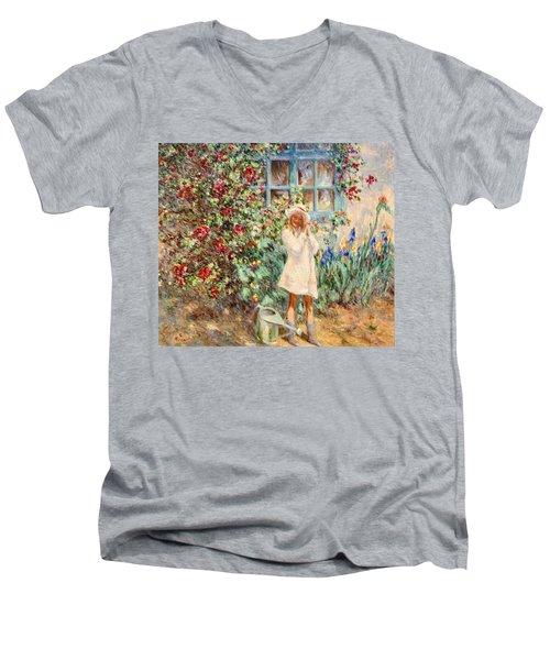 Little Girl With Roses  Men's V-Neck T-Shirt