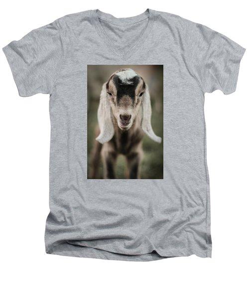 Little Goat In Color Men's V-Neck T-Shirt by Kelly Hazel