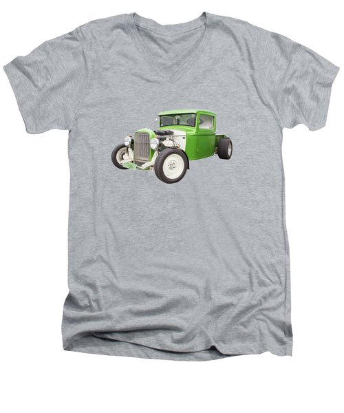 Little Green 32 Men's V-Neck T-Shirt by Keith Hawley