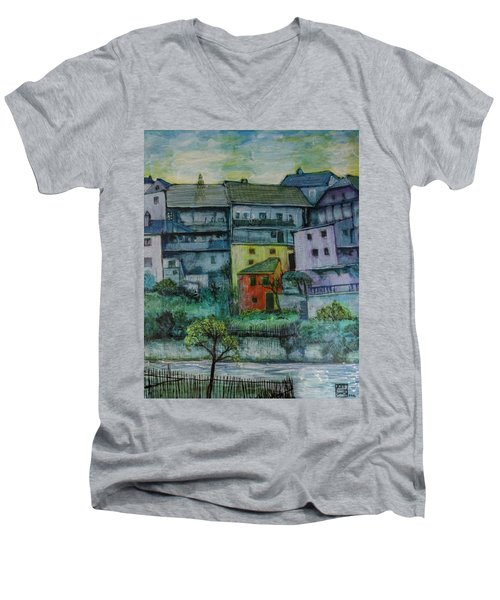 River Homes Men's V-Neck T-Shirt by Ron Richard Baviello