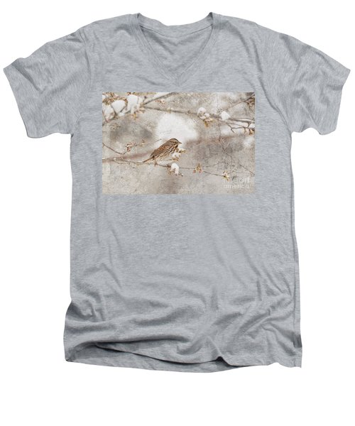 Men's V-Neck T-Shirt featuring the photograph Little House Sparrow by Lila Fisher-Wenzel
