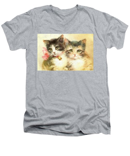 Little Kittens Men's V-Neck T-Shirt