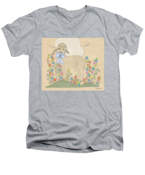 Little Lamb Lightened Men's V-Neck T-Shirt