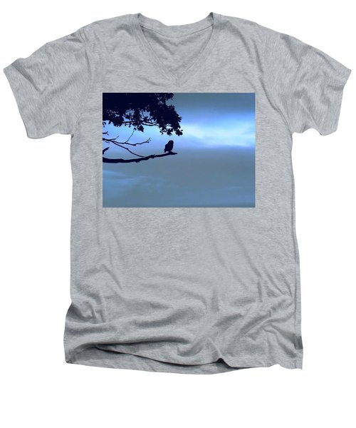 Little Owl Watching Men's V-Neck T-Shirt