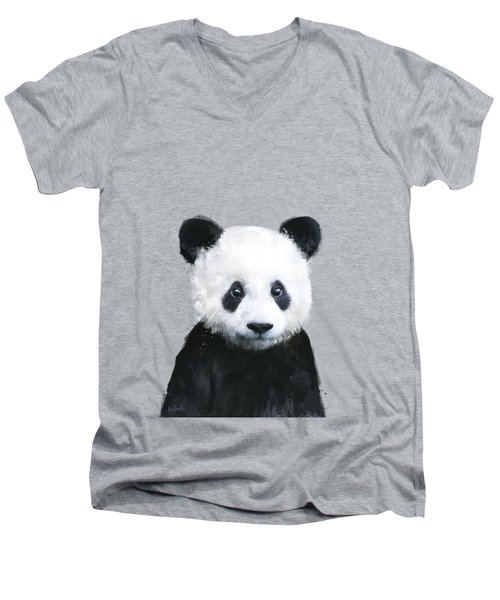 Little Panda Men's V-Neck T-Shirt by Amy Hamilton