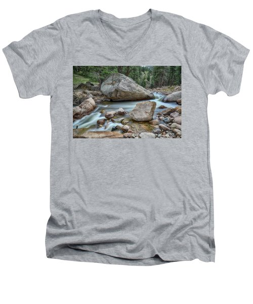 Little Pine Tree Stream View Men's V-Neck T-Shirt by James BO Insogna