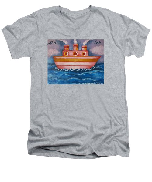 Little Pink Ship Men's V-Neck T-Shirt