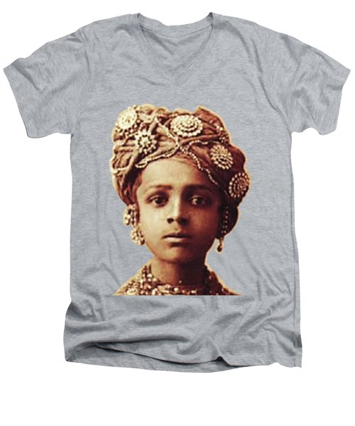 Little Prince Men's V-Neck T-Shirt by Asok Mukhopadhyay