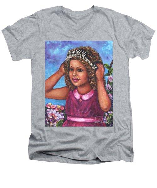 Men's V-Neck T-Shirt featuring the painting Little Princess by Alga Washington