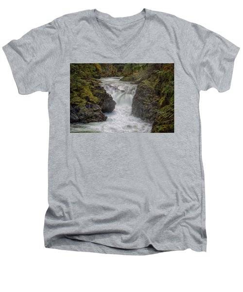 Little Qualicum Lower Falls Men's V-Neck T-Shirt by Randy Hall