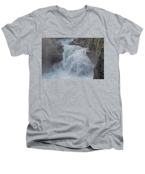 Men's V-Neck T-Shirt featuring the photograph Little Qualicum Upper Falls by Randy Hall