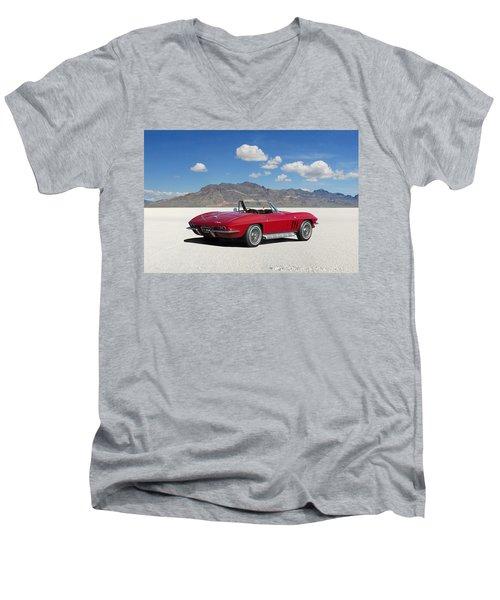 Men's V-Neck T-Shirt featuring the digital art Little Red Corvette by Peter Chilelli