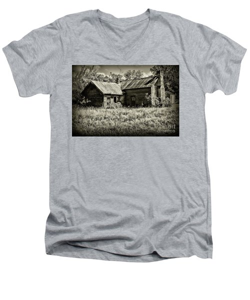 Men's V-Neck T-Shirt featuring the photograph Little Red Farmhouse In Black And White by Paul Ward