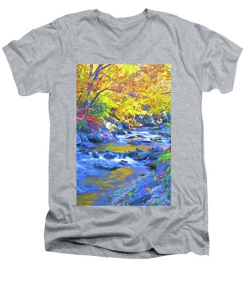 Little River In Autumn Men's V-Neck T-Shirt