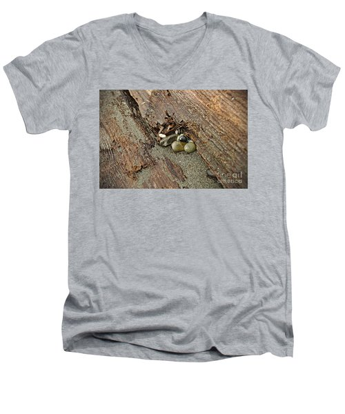 Men's V-Neck T-Shirt featuring the photograph Little Rocks by Cendrine Marrouat