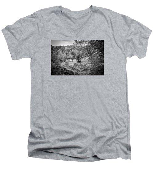 Little Victorian Farm House In A Mountain Field Men's V-Neck T-Shirt