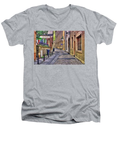 Men's V-Neck T-Shirt featuring the painting Little Village by Harry Warrick