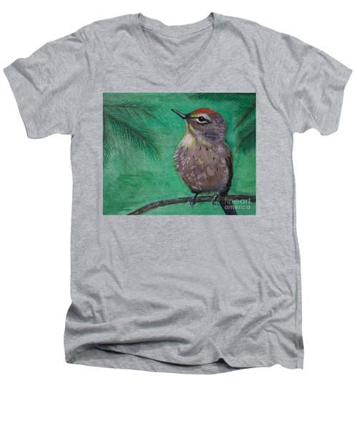 Men's V-Neck T-Shirt featuring the painting Little Warbler by Leslie Allen