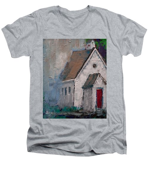 Little White Church On The Corner Christian Painting  Men's V-Neck T-Shirt