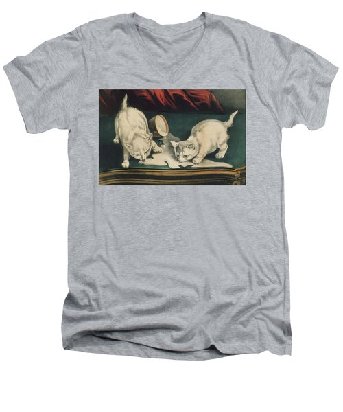 Men's V-Neck T-Shirt featuring the painting Little White Kitties Into Mischief                                                      by Matthias Hauser